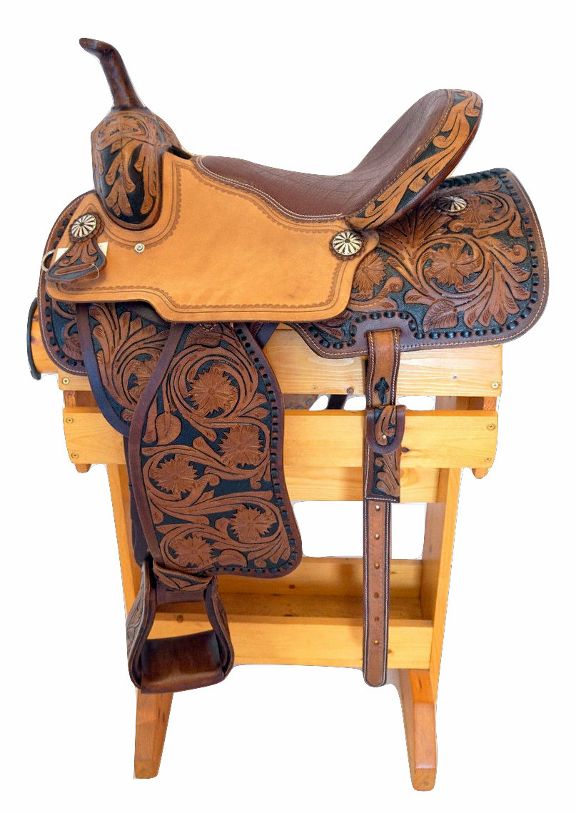 16 Western Leather Saddle With Floral Tooled Inlays
