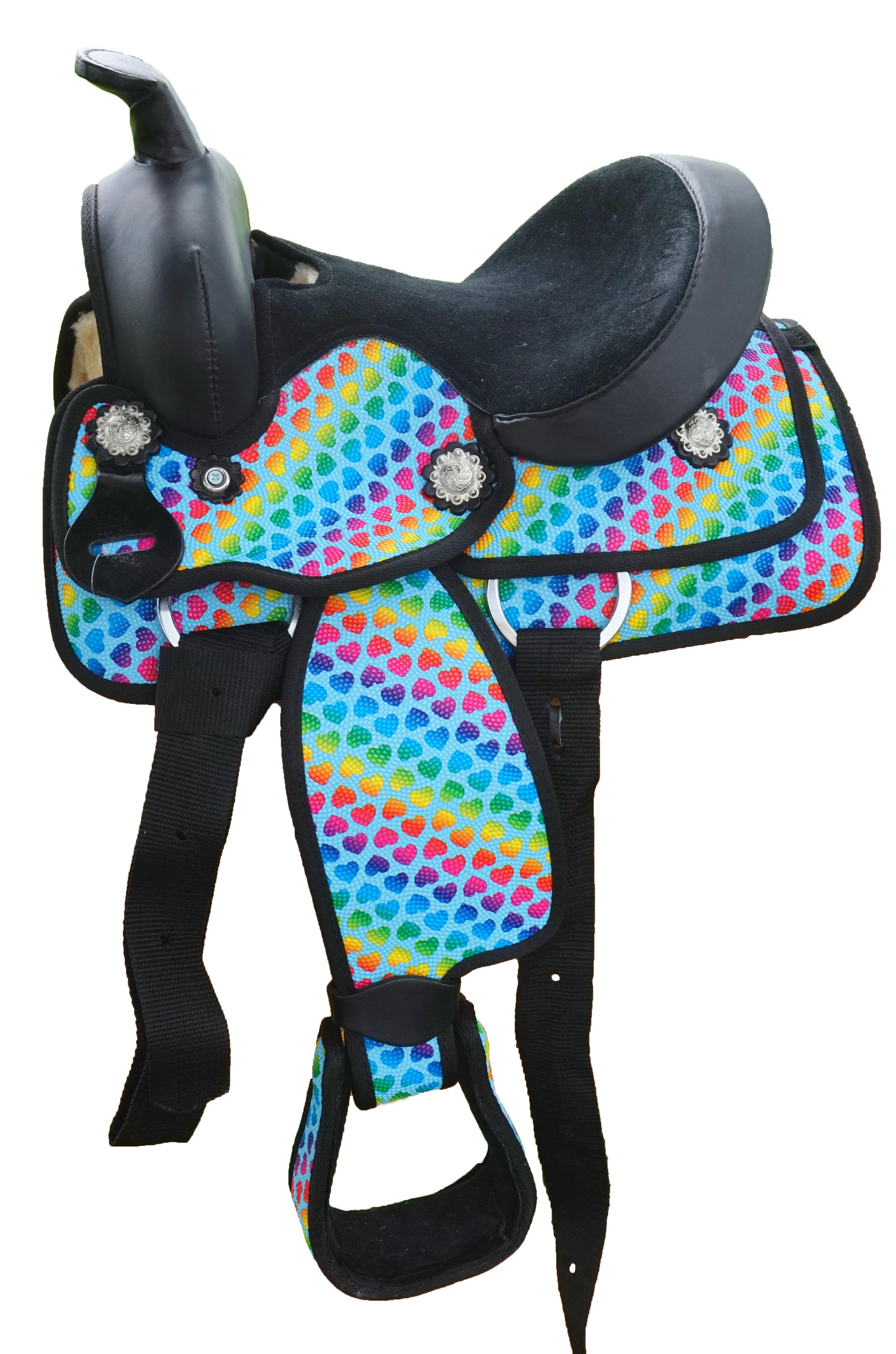 Equitem Rainbow Hearts Synthetic Western Saddle Set