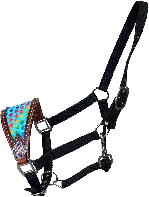 Equitem Black Nylon Horse Bronc Halter With Rainbow Heart Inlay Leather Noseband Thesaddles Com