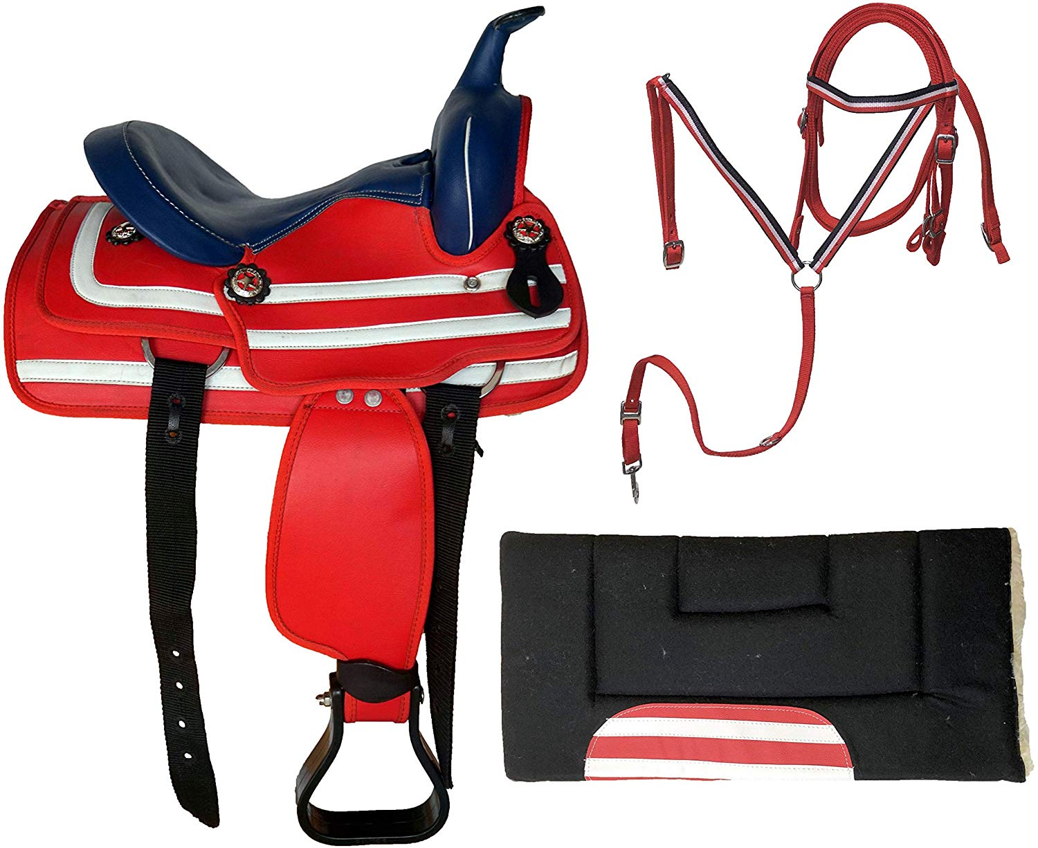 Equitem 13 Western Red White Blue Patriotic Synthetic Saddle With Blue Smooth Seat With Matching Headstall Breastcollar And Pad Thesaddles Com